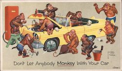 Don't Let Anybody Monkey With Your Car Postcard