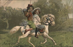 Boy and Girl riding horse Postcard