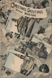 Multi View: Christmas Greetings From Boston Faneuil Hall, Kings Chapel, Park Street Church Postcard