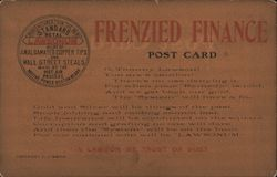 Frenzied Finance Post Card - satirical investment advertisement, Lawsonum Postcard