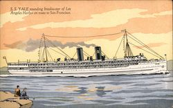 S. S. Yale rounding breakwater of Los Angeles Harbor en route to San Francisco Postcard