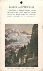 Rainier National Park. Nisqually Glacier, from Paradise Valley Postcard