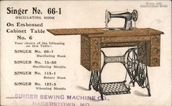 Seamstresses in Argentina. Reverse, ad for Singer No. 66-1 treadle sewing machine. Postcard