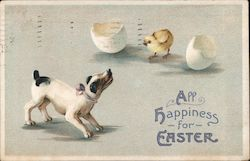 All Happiness for Easter. Hatchling chick and dog. Postcard