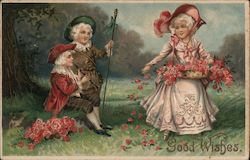 Good Wishes (Trio in meadow with flowers) Postcard