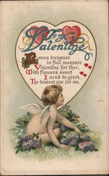 To My Valentine. Cupid with poem in a heart.