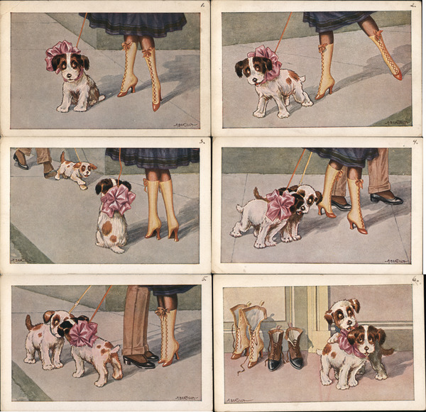 Set of 6: Woman and Man with Dogs, Art Deco A. Bertiglia