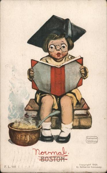 Boston. Child in Graduation Cap Reading a Book. Katharine Gassaway