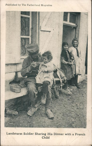Landsturm Soldier Sharing His Dinner With A French Child