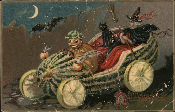 Hallowe'en. Pumpkin chauferring a Witch in a Melon car.