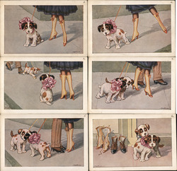 Set of 6: Woman and Man with Dogs, Art Deco Postcard