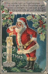 A Merry Christmas At The Candle Light, As I Light My Pipe, All Is Bright, On this Christmas Night. Postcard