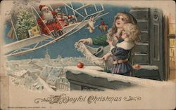 A Joyful Christmas - Santa in Biplane Postcard