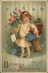 Birthday Souvenirs - Child With Floral Bouquets Postcard