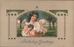 Birthday Greetings - Girl in Pink Dress With Basket of Flowers Postcard