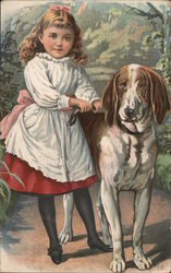 Girl and Dog. Advertising an early anaesthetic for dentistry. Postcard