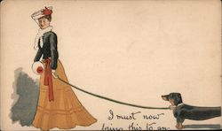 Woman with Dachshund Postcard