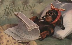 Happy Days. Dachshund smoking in bed and reading a newspaper. Postcard