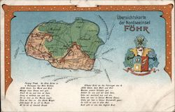 Overview Map of the North Sea Island of Föhr Postcard