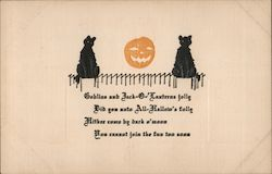 Goblins and Jack-O-Lanterns Jolly, Embossed Postcard