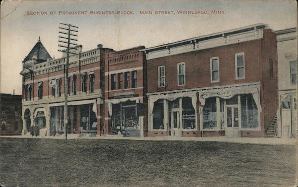 Section of Prominent Business Block, Main Street Winnebago Minnesota