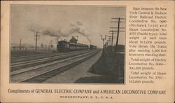Compliments of General Electric Company and American Locomotive Company Postcard