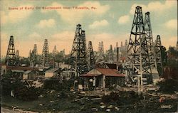 Scene of Early Oil Excitement Postcard