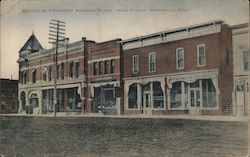 Section of Prominent Business Block, Main Street Postcard