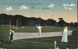 Playing Tennis, Franklin Park Postcard