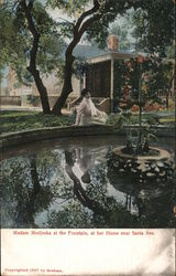 Madam Modjeska at the Fountain, at her Home Postcard