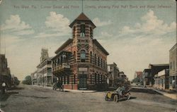 Corner Duval and Front Streets, Showing First Nat'l Bank and Hotel Jefferson Postcard