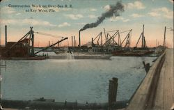 Construction Work on Over-Sea R.R. Postcard