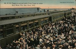 Mr. H. M. Flagler's Arrival and First Train to Center Postcard