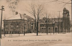 Sacred Heart Church, Rectory and Carnegie Library Postcard