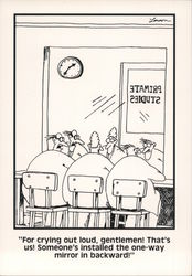 Primate Studies One Way Mirror Fail - The Far Side