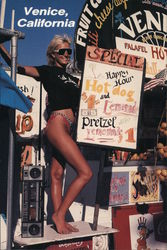 Woman advertising a Hot Dog Stand at Venice Beach Postcard