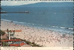 Santa Monica Beach, Pier and Palos Verdes Peninsula Postcard
