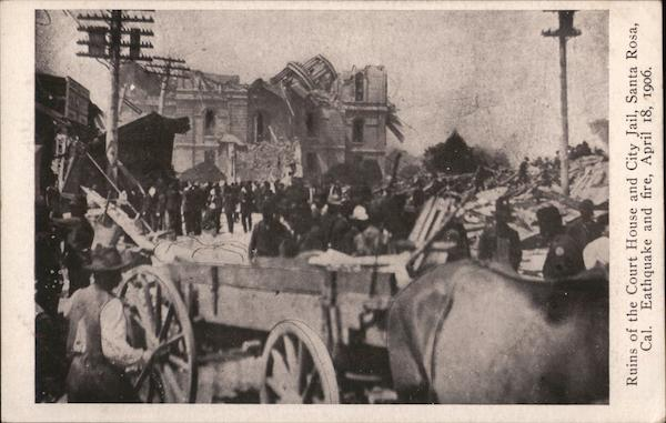 Ruins of the Court House and City Jail - Earthquake and fire April 18 1906 Santa Rosa California