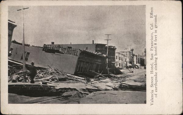 Valencia Street Hotel after earthquake sinking hotel 8 feet into ground San Francisco California