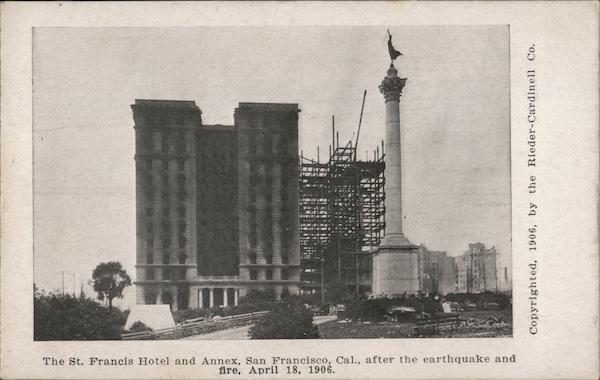 The St. Francis Hotel and Annex after the Earthquake and Fire, April 18, 1906 San Francisco California