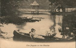 The pagoda on Charles River -woman in canoe Postcard