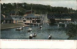 Public boat house at riverside with Railroad bridge Postcard