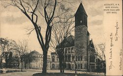 High School, State Hall and City Hall Postcard
