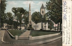 First Church and Civil War Soldiers Monument Postcard