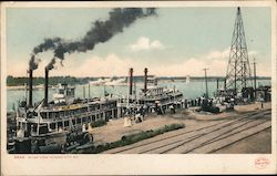 Steamboats Docking on the Missouri River Postcard