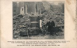 Remains of engine N. 15 wrecked by falling walls Postcard