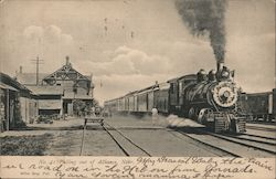 Train pulling out of station Postcard