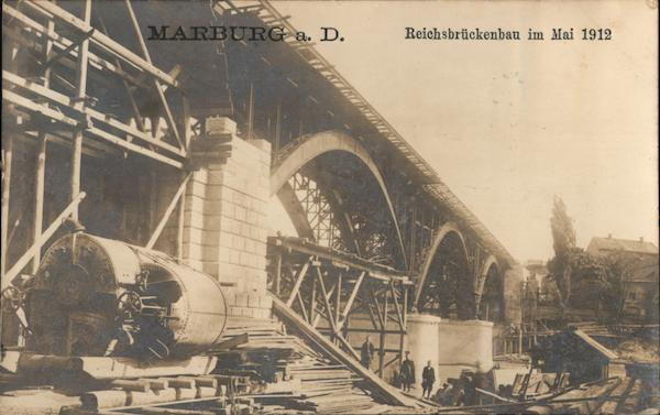 Reich Bridge Construction, May 1912 Marburg Germany
