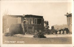 Fremont School after Earthquake Postcard