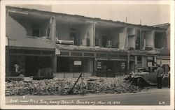 3rd near Pine Avenue, Quake of March 10, 1933 Postcard